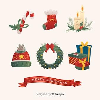 Platte ontwerp element kerstcollectie
