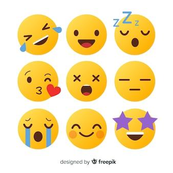 Platte ontwerp emoticon reactie collectie