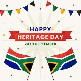 Platte ontwerp erfgoeddag illustratie met afrikaanse vlag