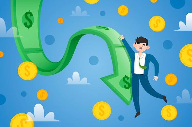 Platte ontwerp faillissement illustratie met vliegende munten
