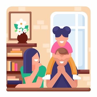 Platte ontwerp familiescène geïllustreerd