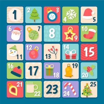 Platte ontwerp feestelijke adventskalender