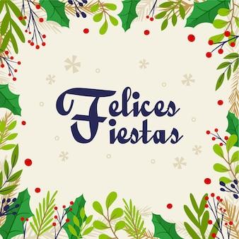 Platte ontwerp felices fiestas achtergrond met boomtakken