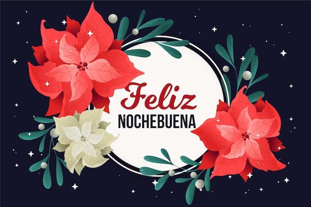 Platte ontwerp feliz nochebuena achtergrond met bloemen