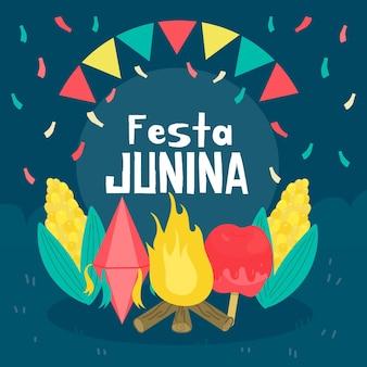 Platte ontwerp festa junina concept