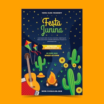 Platte ontwerp festa junina flyer sjabloon concept