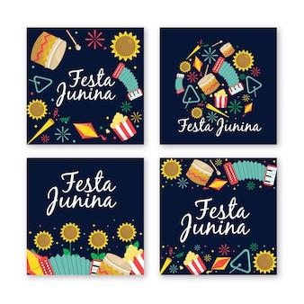 Platte ontwerp festa junina-kaartcollectie