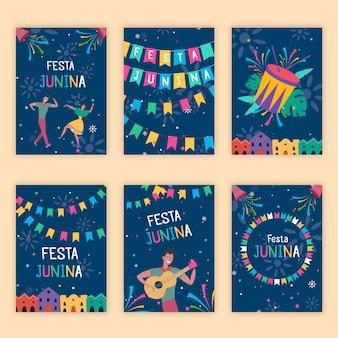 Platte ontwerp festa junina kaartsjabloon collectie