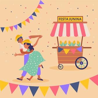 Platte ontwerp festa junina man en vrouw illustratie