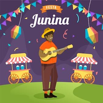 Platte ontwerp festa junina man op gitaar spelen