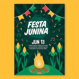 Platte ontwerp festa junina poster sjabloon
