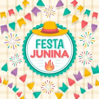 Platte ontwerp festa junina viert illustratie