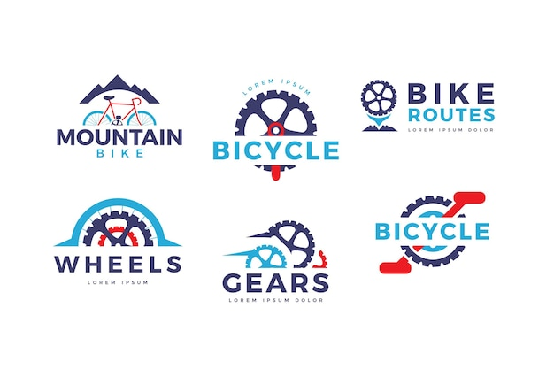 Platte ontwerp fietslogo-collectie