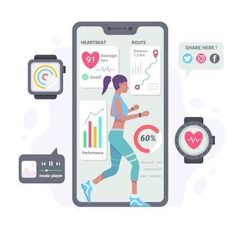 Platte ontwerp fitness tracker concept