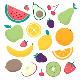 Platte ontwerp fruitcollectie