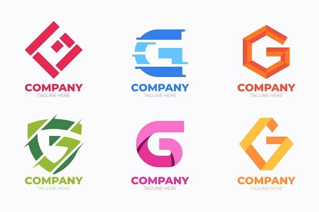 Platte ontwerp g brief logo's set
