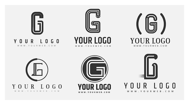 Platte ontwerp g-letterlogo's