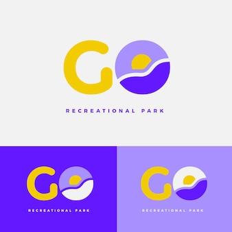 Platte ontwerp gaan logo sjabloon