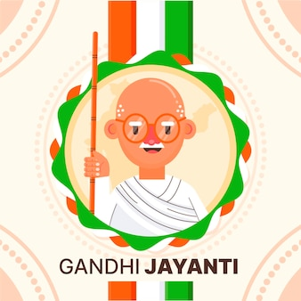Platte ontwerp gandhi jayanti avatar-evenement