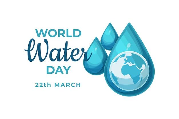 Platte ontwerp gedetailleerde wereld waterdag geïllustreerde druppels