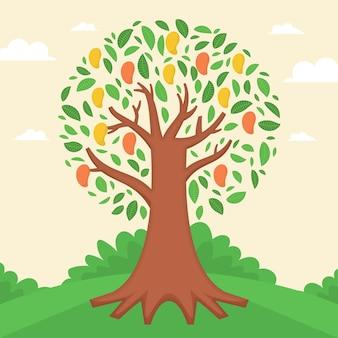 Platte ontwerp geïllustreerde mangoboom
