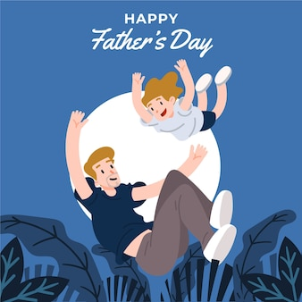 Platte ontwerp geïllustreerde vaderdagstijl