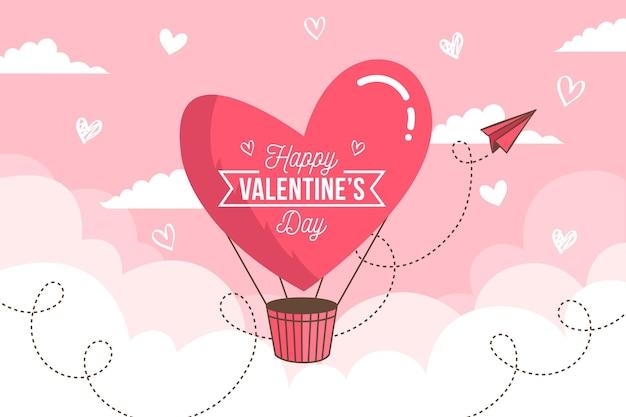 Platte ontwerp geïllustreerde valentijnsdag achtergrond