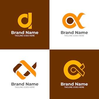 Platte ontwerp gekleurde alpha-logo's