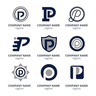 Platte ontwerp gekleurde p-logo's set