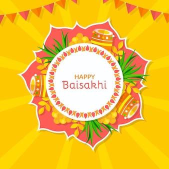 Platte ontwerp gelukkig baisakhi concept