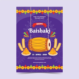 Platte ontwerp gelukkig baisakhi poster
