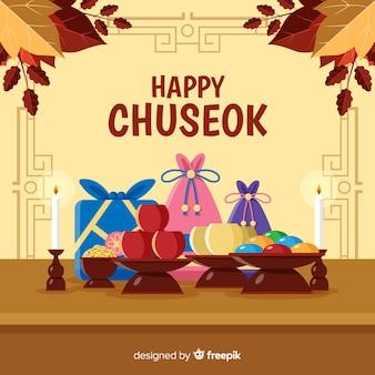 Platte ontwerp gelukkig chuseok met geschenken