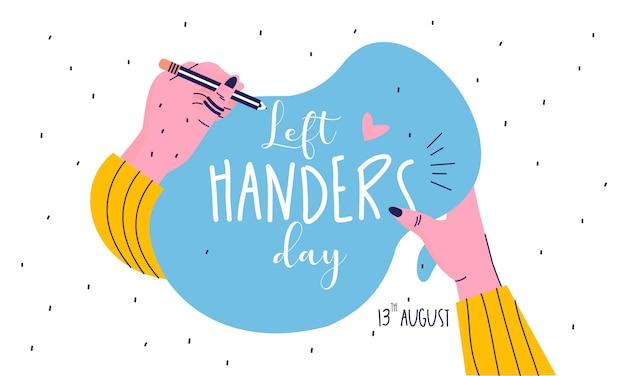 Platte ontwerp gelukkig linkshandigen dag concept illustratie