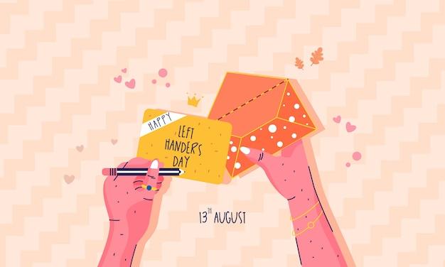 Platte ontwerp gelukkig linkshandigen dag concept