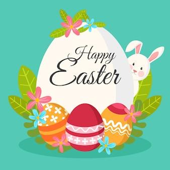 Platte ontwerp gelukkig pasen dag konijn verstopt achter groot ei