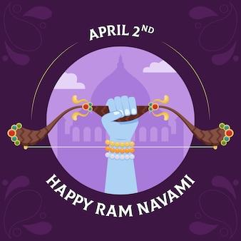 Platte ontwerp gelukkig ram navami dag evenemententhema