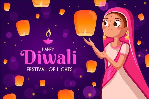 Platte ontwerp gelukkige diwali vrouw met lantaarns