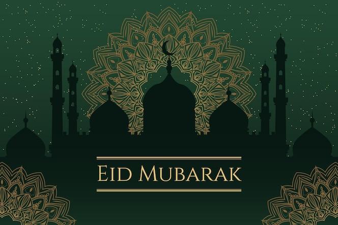 Platte ontwerp gelukkige eid mubarak-moskee in de nacht