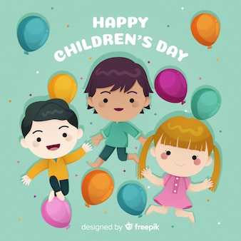 Platte ontwerp gelukkige internationale kinderdag