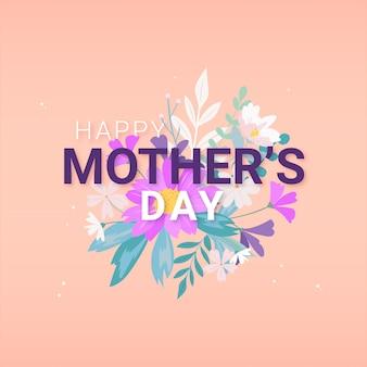Platte ontwerp gelukkige moederdag en boeket bloemen