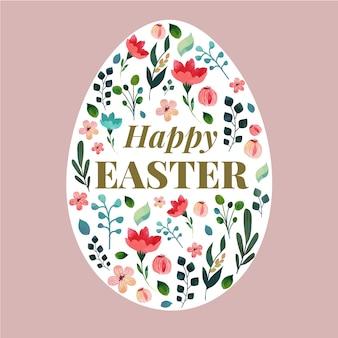 Platte ontwerp gelukkige paasdag met bloemen ei