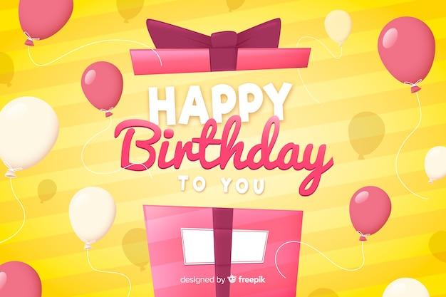 Platte ontwerp gelukkige verjaardag achtergrond met cadeau