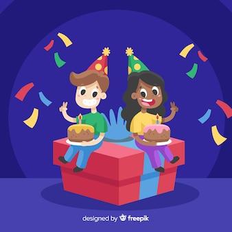 Platte ontwerp gelukkige verjaardag achtergrond