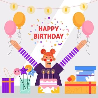 Platte ontwerp gelukkige verjaardag