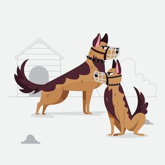 Platte ontwerp gemuilkorfde honden geïllustreerd