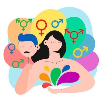 Platte ontwerp gender identiteit concept met geïllustreerde persoon