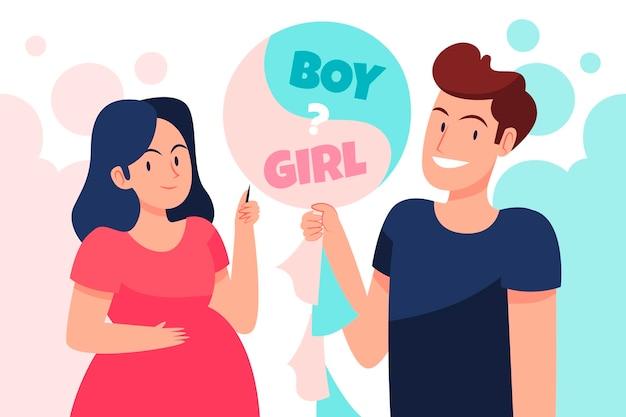 Platte ontwerp gender reveal concept illustratie