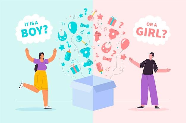Platte ontwerp gender reveal concept