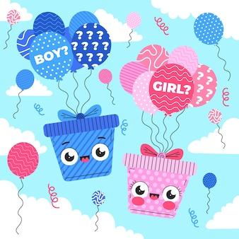 Platte ontwerp gender reveal party concept