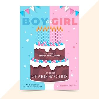 Platte ontwerp gender reveal uitnodiging